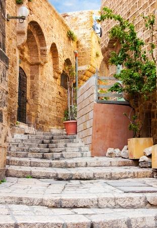 Narrow stone streets of ancient Tel Aviv, Israel photo