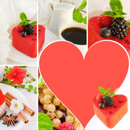 Cake in the form of heart with a blackberry, a raspberry and mint, a cup of coffee Stock Photo - 13970276