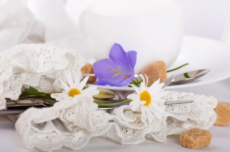Table fork and knife in a napkin of medieval style, flower Stock Photo - 14039473