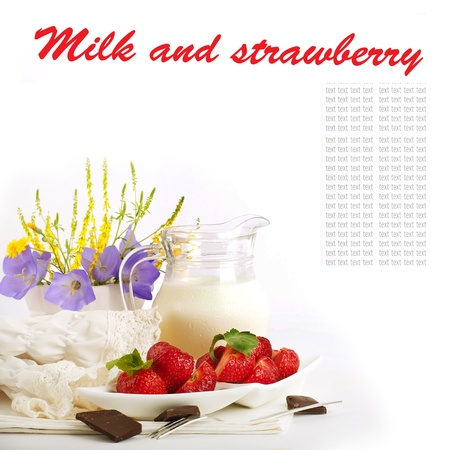Strawberry with a mint and jug of milk, chocolate Stock Photo - 14209204