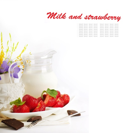 Strawberry with a mint and jug of milk, chocolate Stock Photo - 14209191