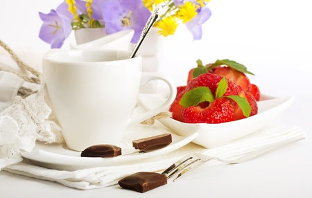 Strawberry with a mint and cup of coffee, chocolate Stock Photo - 14209146