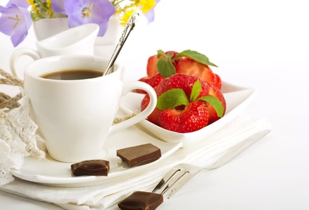 Strawberry with a mint and cup of coffee, chocolate Stock Photo - 14209177