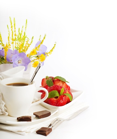 Strawberry with a mint and cup of coffee, chocolate Stock Photo - 14209150