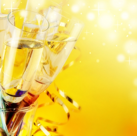 Glasses with champagne, a New Year Stock Photo - 15131330