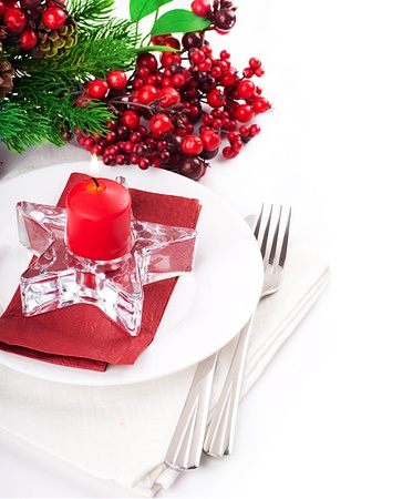 gold table cloth: Christmas table layout, multi-colored tape with a branch of berries