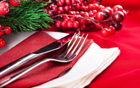 Christmas table layout, multi-colored tape with a branch of berries  Stock Photo - 15543930