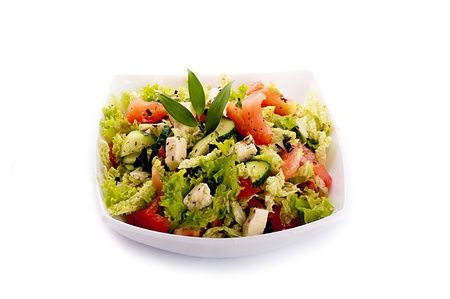 Salad from fresh green-stuffs and cheese with spices Stock Photo - 15657510