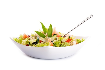 Salad from fresh green-stuffs and cheese with spices Stock Photo - 15657533