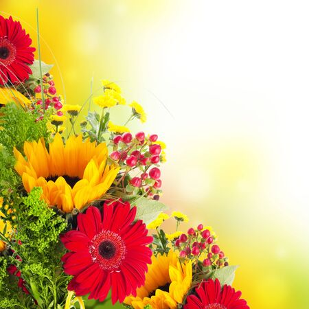 bouquet flowers: Autumn flowers, bouquet from gerber and sunflowers