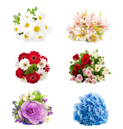 Set of flowers are in a bouquet, floral background photo