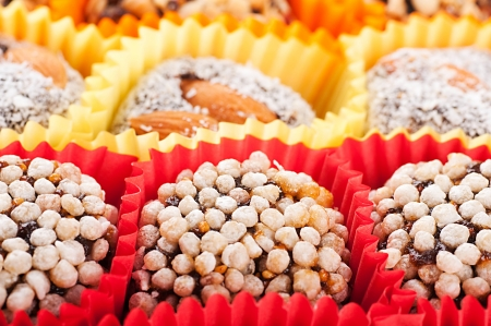 Turkish candies and sweets, tasty background photo