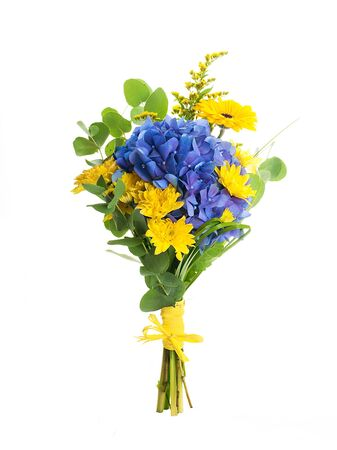 iris flower: Bouquet from blue hydrangeas and yellow asters, a flower background Stock Photo