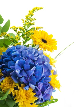 Bouquet from blue hydrangeas and yellow asters, a flower background Stok Fotoğraf