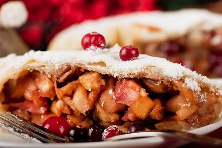 christmas apple: Natale, torta di mele con zucchero a velo Archivio Fotografico