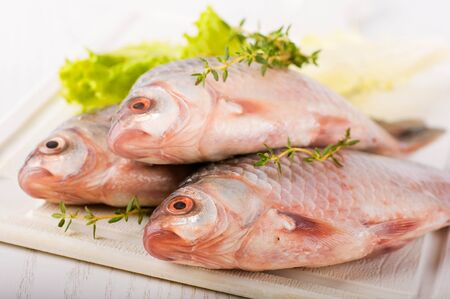 Raw European carp with a thyme and lemon, living fish photo