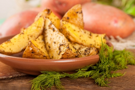 Potatoes baked in an oven with spices and