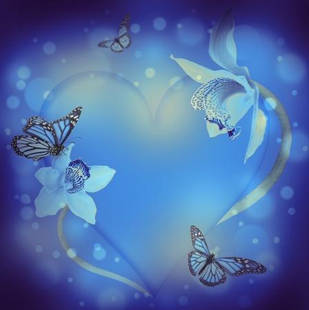 St Valentine s Day, Herz von Orchideen und Schmetterlinge