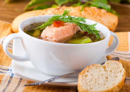 Fish a trout soup and bread with fennel Stock Photo - 17441790