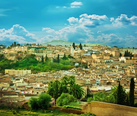 fes: Morocco, a landscape of a city wall in the city of Fes Stock Photo