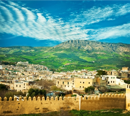 Morocco, a landscape of a city wall in the city of Fes photo
