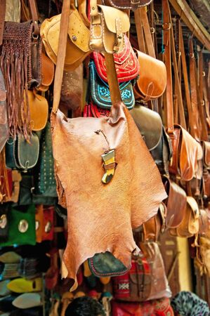 famous industries: Bags, purses, hats and other products of the Moroccan leather factories
