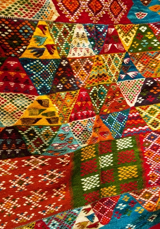 Bright paints of the Moroccan and berber carpets photo