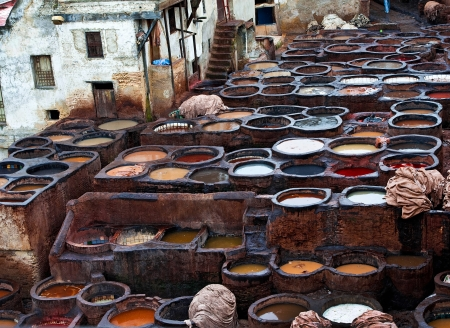 dyeing: The Moroccan leather factories, ancient craft in Medina of Fes Stock Photo