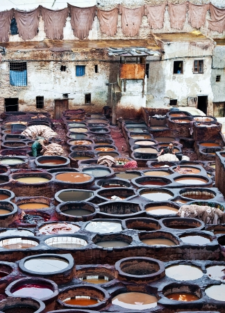 dyeing: The Moroccan leather factories, ancient craft in Medina of Fes Editorial