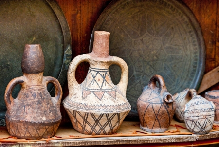 Teapot, tadjin, vase and other products of the Moroccan potters factories photo