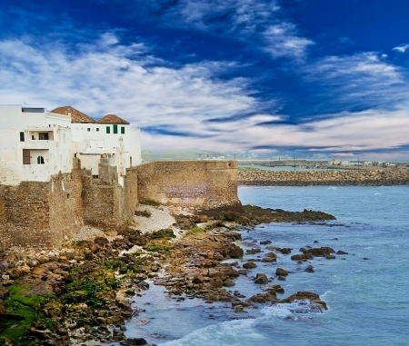 City wall on the ocean coast, a landscape photo
