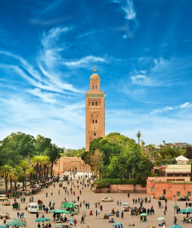 minaret: Main square of Marrakesh in old Medina. Morocco.