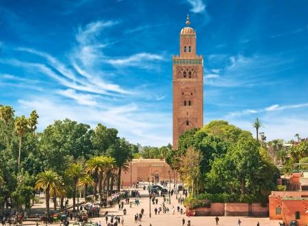 Het belangrijkste plein van Marrakech in de oude medina. Marokko.