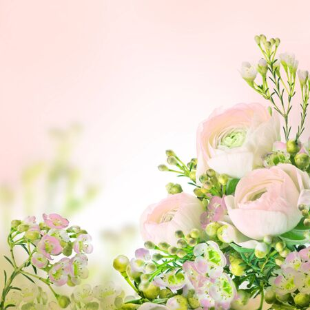 Gentle bouquet from pink roses and small flower photo