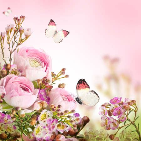 Gentle bouquet from pink roses and butterfly Stock Photo - 19244002