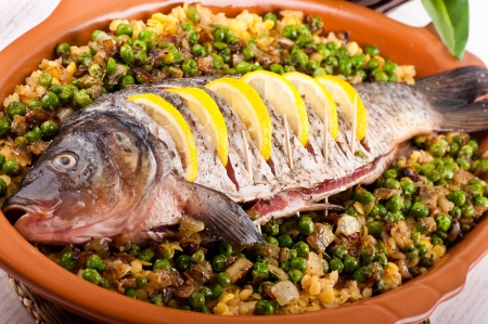 Baked crucian on a pillow from lentil and peas Stock Photo - 19244071