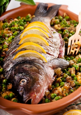 Baked crucian on a pillow from lentil and peas Stock Photo - 19401952