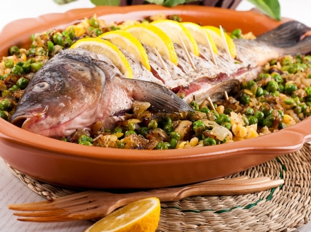 Baked crucian on a pillow from lentil and peas Stock Photo - 19401920