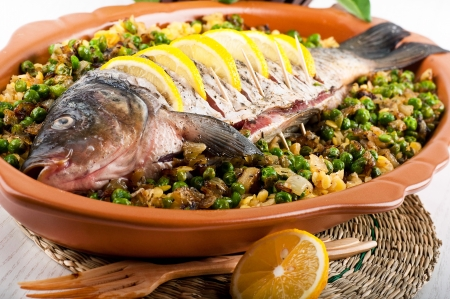 Baked crucian on a pillow from lentil and peas Stock Photo - 19401969
