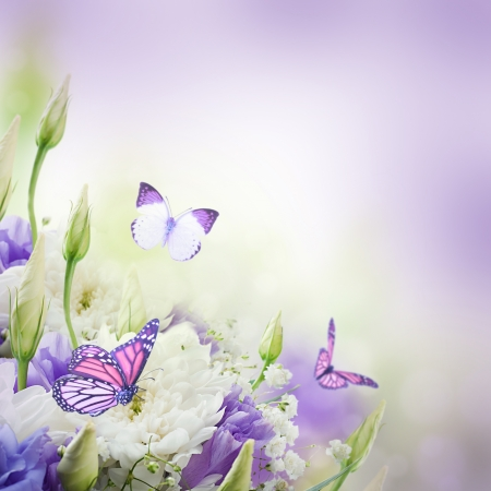 Bridal bouquet from white and pink flowers,  butterfly  Stock Photo