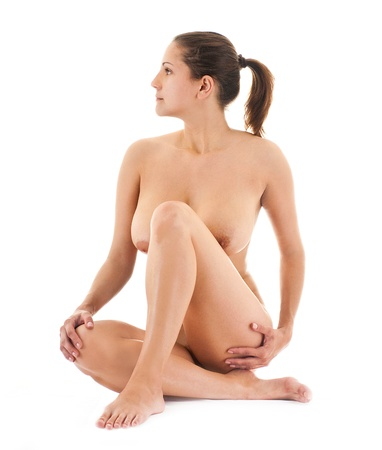 naked young girl: The naked young girl on a white background Stock Photo