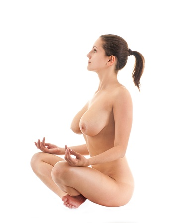 naked breast: The naked young girl on a white background Stock Photo