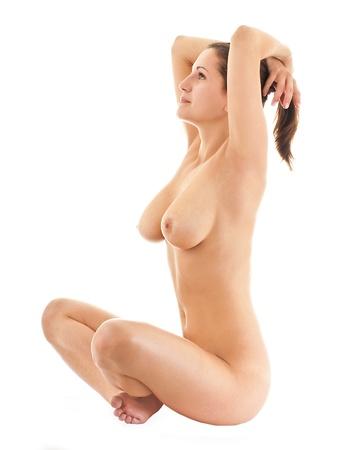joven desnudo: La joven desnuda sobre un fondo blanco