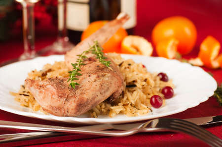 Christmas turkey with berries and oranges photo