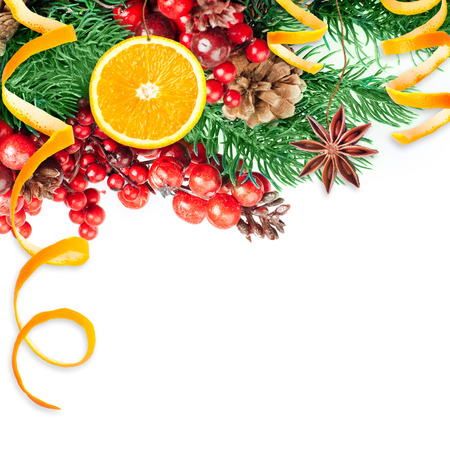 Christmas berries and spruce branch with cones and oranges Stok Fotoğraf