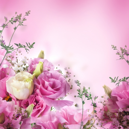 Bouquet of pink roses, floral background photo