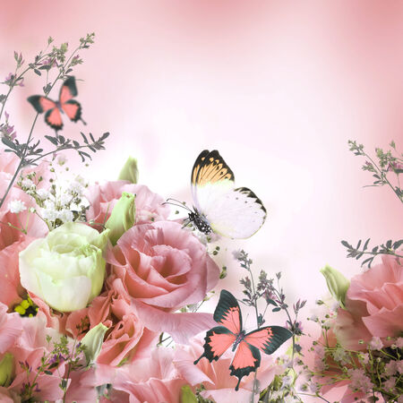 Bouquet of pink roses and butterfly, floral background photo