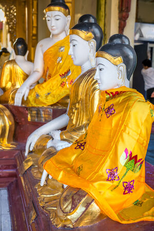 deities: Statues of deities in the Buddhist temple. Shwedagon Pagoda was built in the 11th century