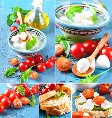 Mozzarella, tomatoes and bread. Italian food photo