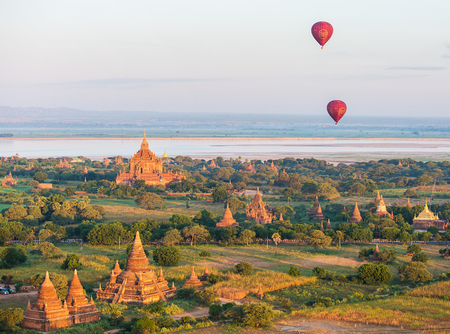 Mandalay - December 4: fly a balloon December 4, 2013 in Bagan. Ballooning over Bagan is one of the most memorable action for tourists